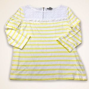 💫4/30 H&M Eyelet Collar Zippered Back Striped Top